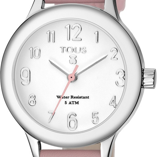 Steel Dolce Watch with pink Leather strap