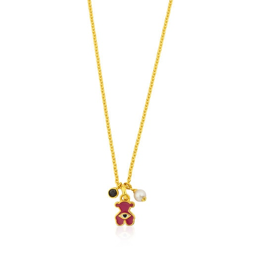 Vermeil Silver Face Necklace with Enamel, Pearl and Spinel