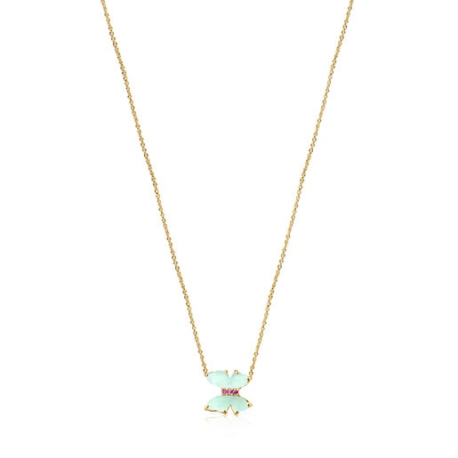 Gold with Amazonite and Ruby Vita Necklace