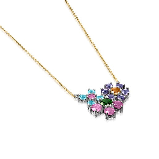 Titanium and Gold Real Sisy Necklace with Gemstones