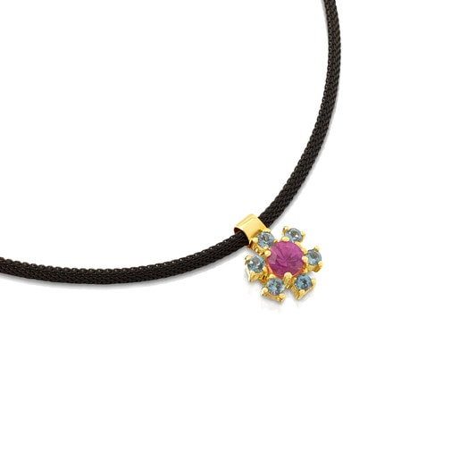 Gold and Steel Mini Teatime Necklace with Ruby and Topaz