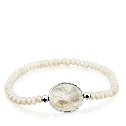 Silver Camee Bracelet with Pearls and Mother-of-Pearl