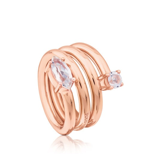 Rose Vermeil Silver Eklat Ring with Topaz