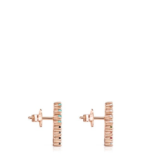 Straight bar Earrings in Rose Silver Vermeil with Gemstones