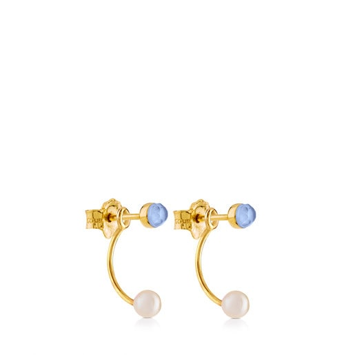 Gold Mini Bright Earrings with Pearl and Mother of pEarl