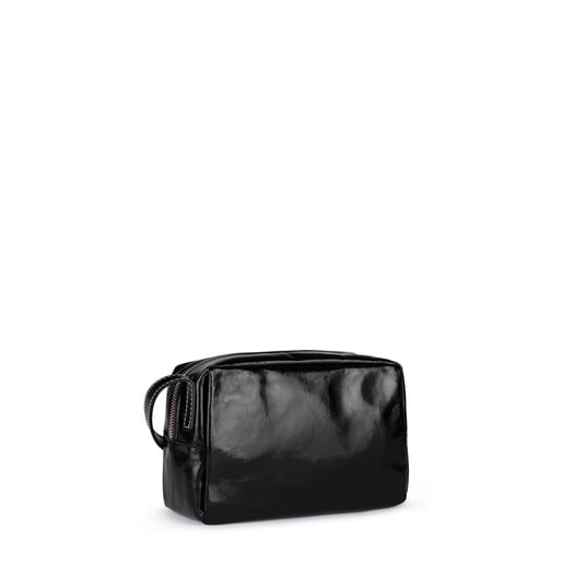 Small black Leather Tulia Crack Crossbody bag