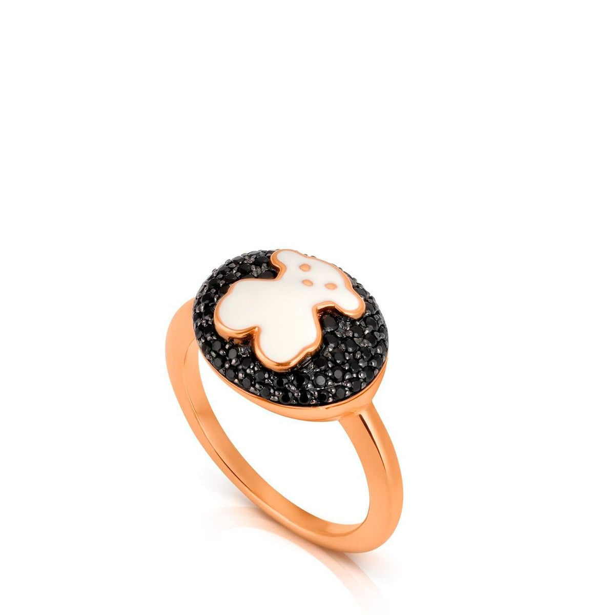 Gold TOUS Bear Ring with Diamond, Spin els and Enamel
