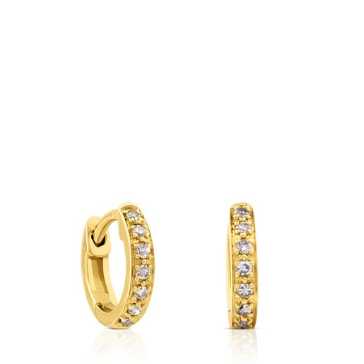 Gold Gem Power Earrings with Diamonds