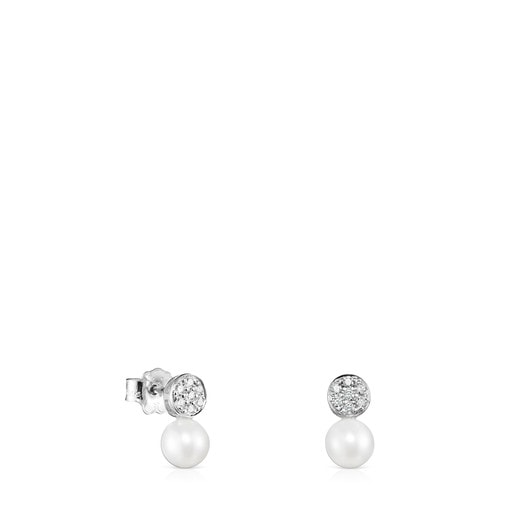 White Gold with Diamonds and Pearl Alecia Earrings