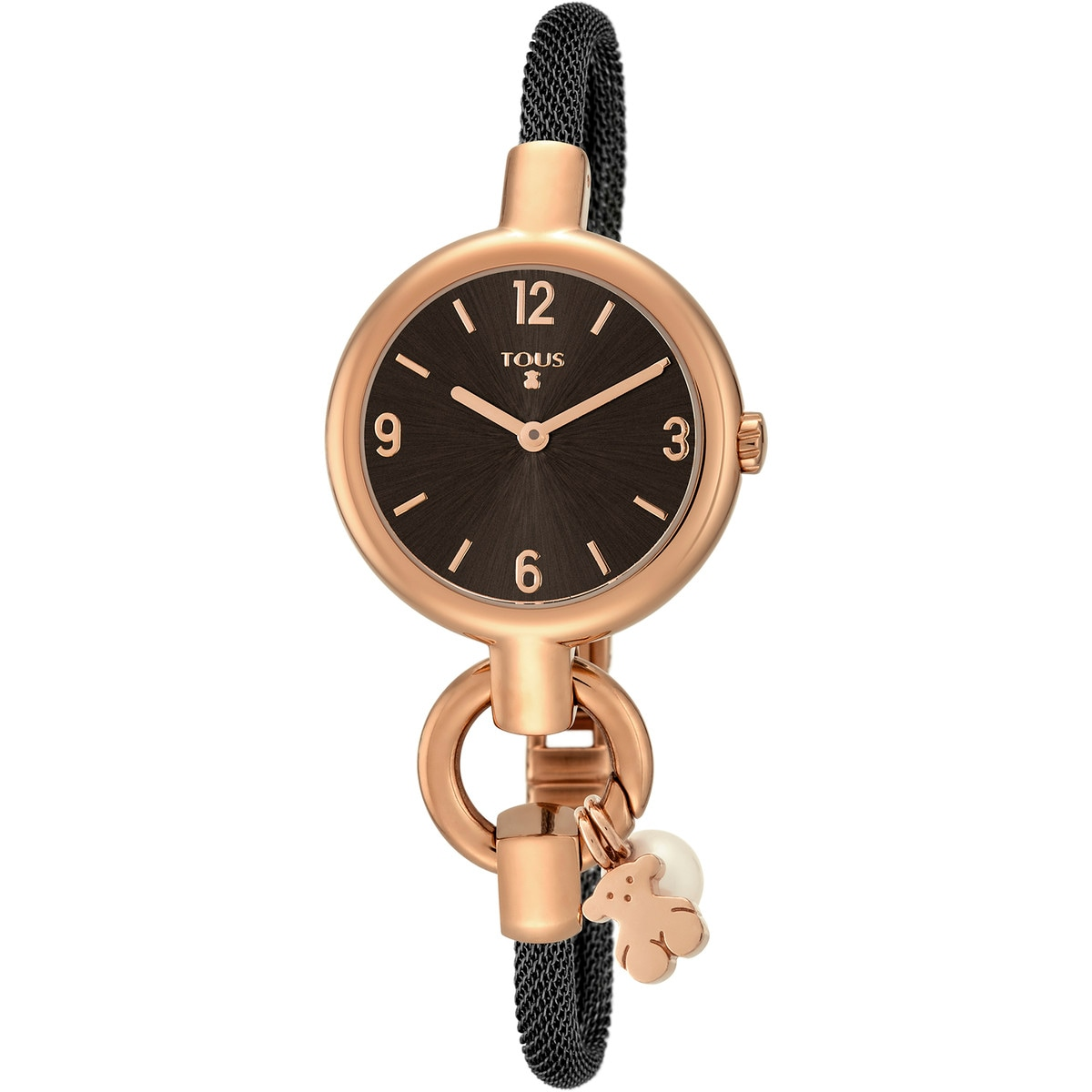 Rose IP Steel Hold Charms Watch with black IP steel strap