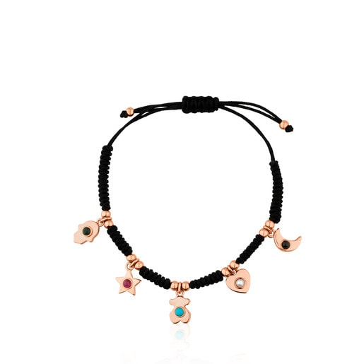 Rose Vermeil Silver Super Power Bracelet with Cord and Gemstones