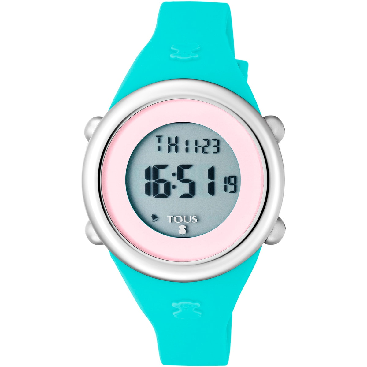 Steel Soft Digital with mint Silicone strap