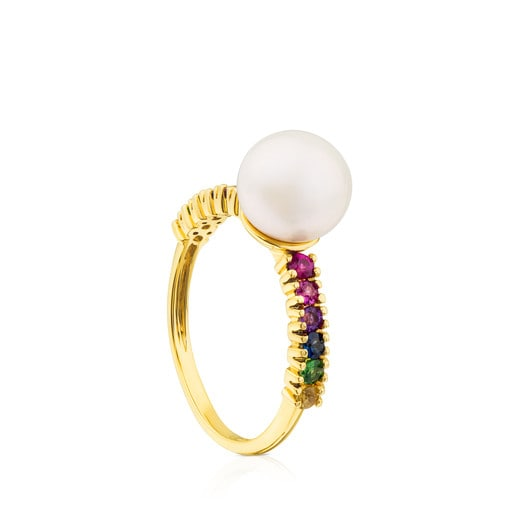 Gold Lio Ring with Gems and Pearl