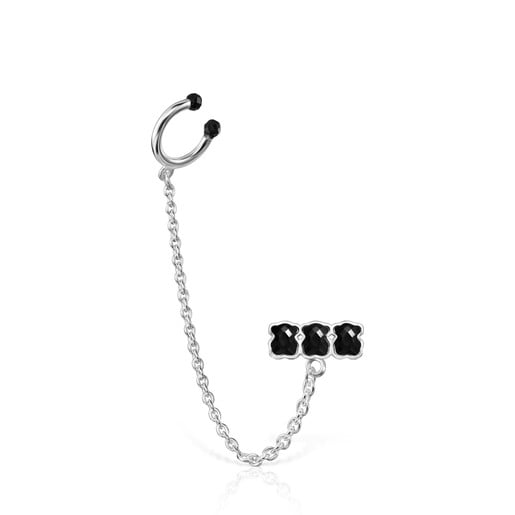 Mini Onix Earcuff in Silver with Onyx