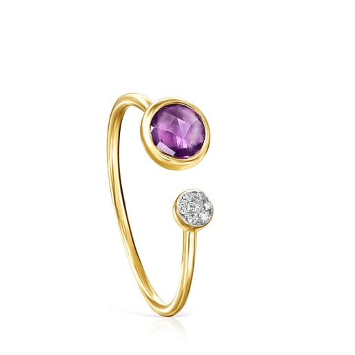 Ring Color Kings aus Gold mit Amethyst und Diamanten