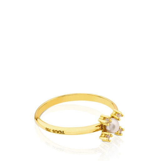 Gold with Diamond and Pearl Eklat Ring