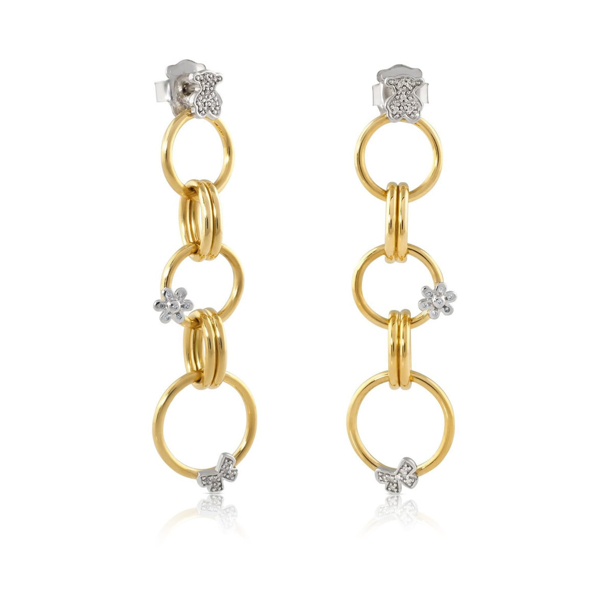 White and Yellow Motif Earrings with Diamond