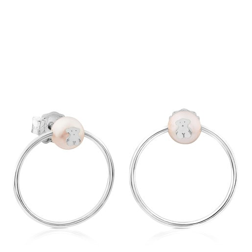 Silver Icon Earrings with Pearl