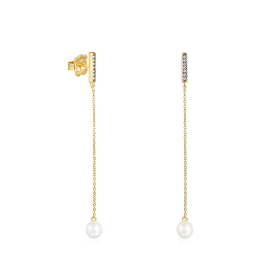 Long Nocturne bar Earrings in Silver Vermeil with Diamonds and Pearl