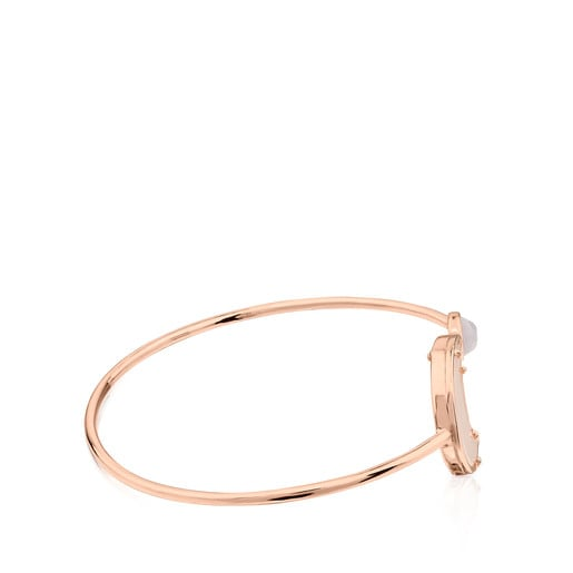 Pink Vermeil Silver Eugenia By TOUS Lune Chérie Cuff with Chalcedony and Quartz
