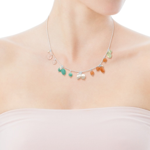 Amelie Necklace in Silver with Beryl, Pink Quartz and Pearl