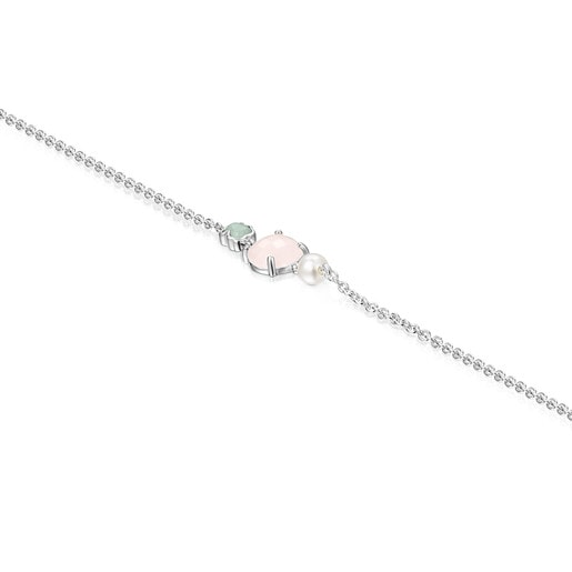 Mini Color Bracelet in Silver with Pink Quartz, Amazonite and Pearl