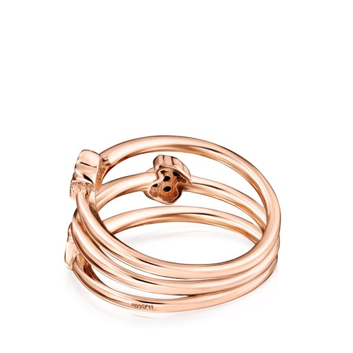 Motif Ring in Rose Silver Vermeil with Spinels
