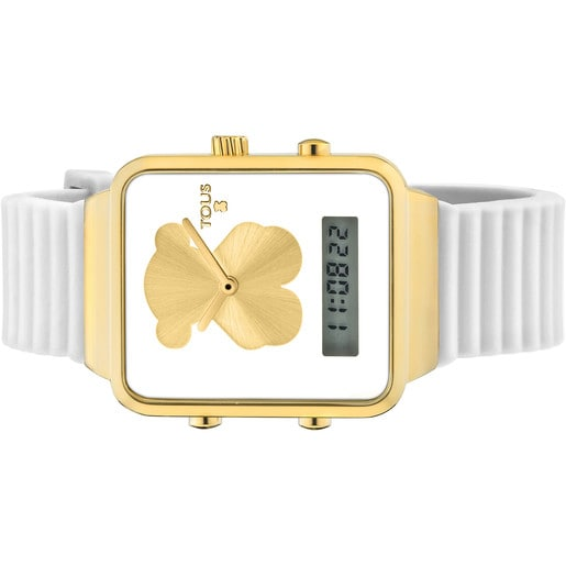 Gold IP Steel I-Bear Digital watch with white Silicone strap