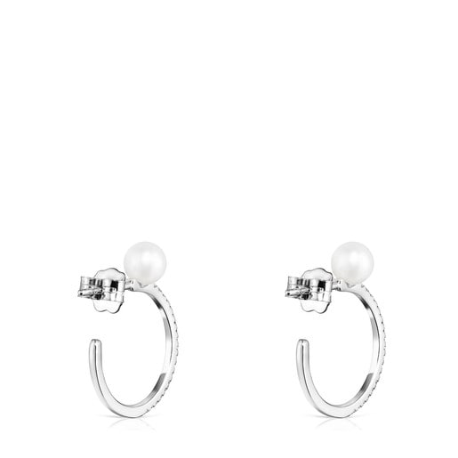 Large Les Classiques Earrings in White Gold with Diamond and Pearl