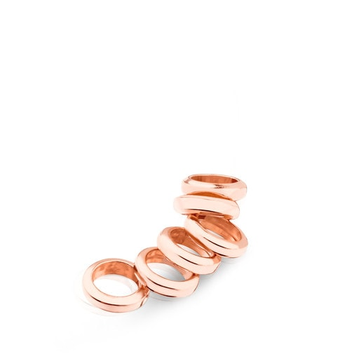 Pack of Rose Vermeil Silver Hold Rings