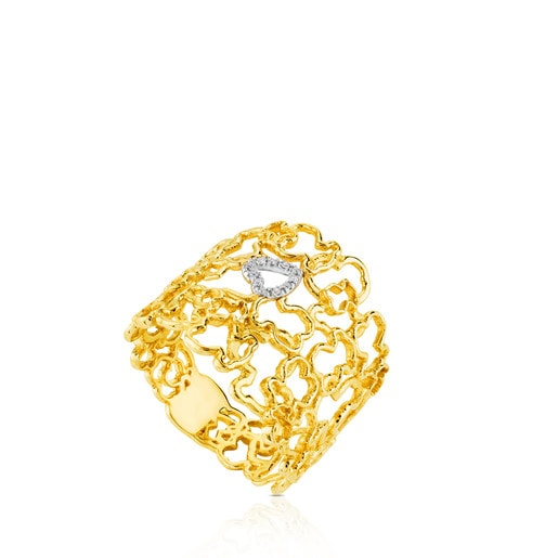 Yellow and White Gold Milosos Ring with Diamond