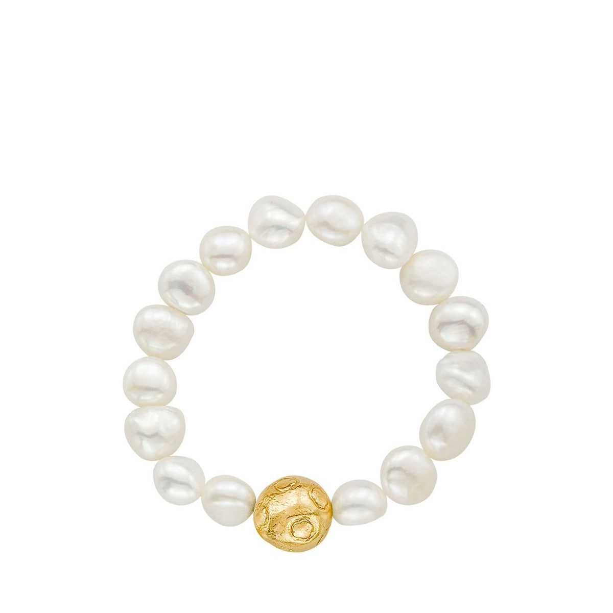 Gold Moon Bracelet with Pearl