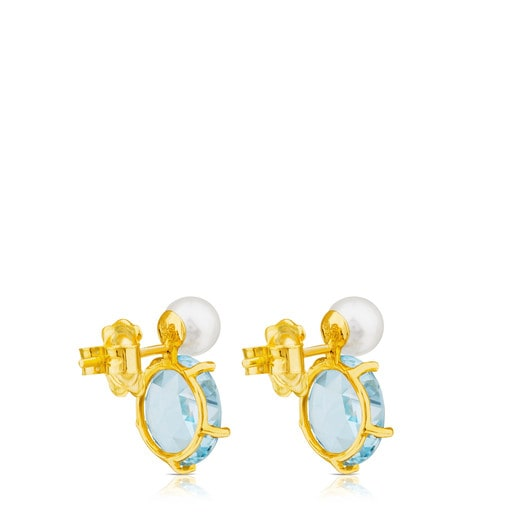 Ivette Earrings in Gold with Topaz and Pearl