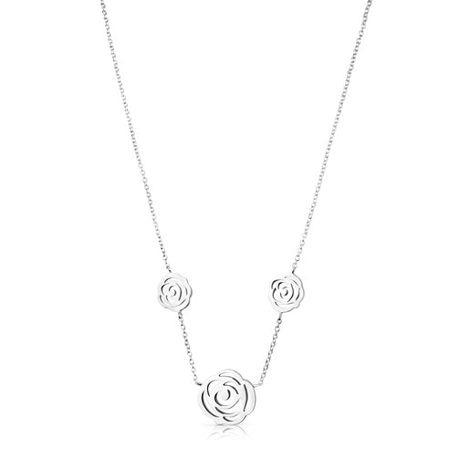 Silver Rosa de Abril Necklace