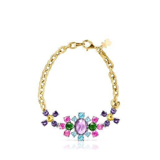 Titanium and Gold Real Sisy Bracelet with Gemstones