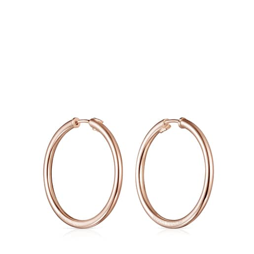 TOUS Basics large Hoop Earrings in Rose Silver Vermeil