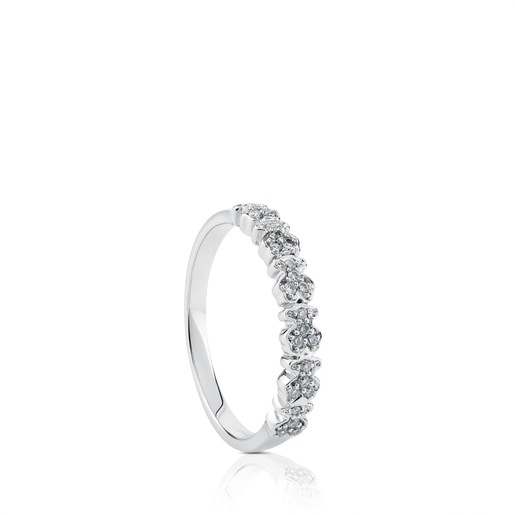 Anillo Fancy de Oro blanco con Diamantes