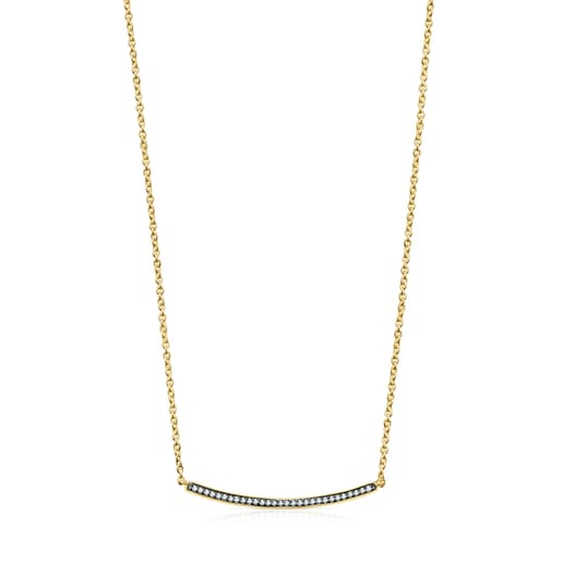 Nocturne bar Necklace in Silver Vermeil with Diamonds