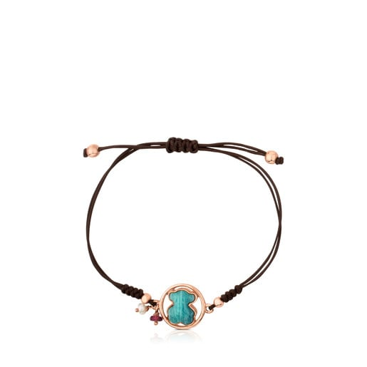 Rose Vermeil Silver Camille Bracelet with Amazonite, Ruby and Pearl