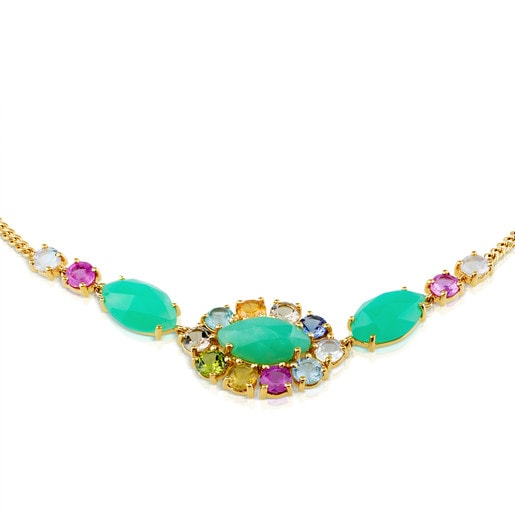 Gold Beach Necklace with Gemstones