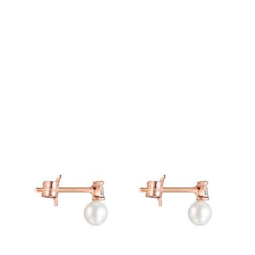 Light Earrings in Rose Gold with Diamonds and Pearl
