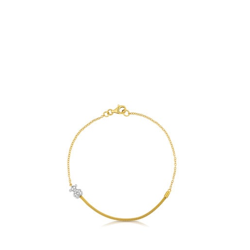 Gold and Diamond Icon Mesh Bracelet