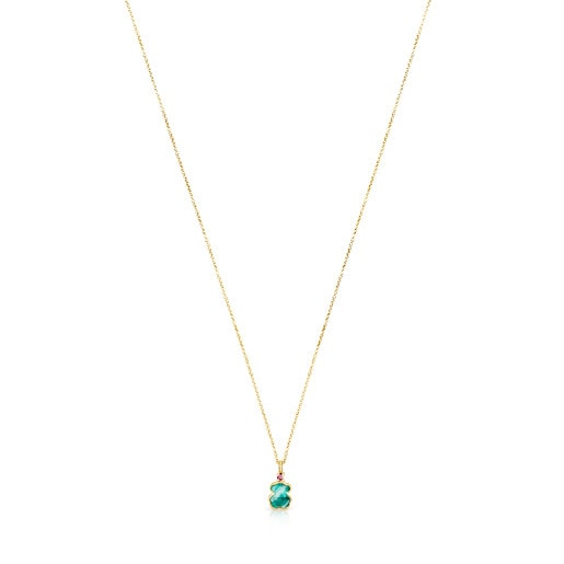 Gold TOUS Color Necklace with Amazonite and Ruby