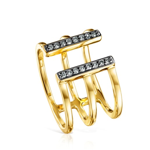 Nocturne triple Ring in Silver Vermeil with Diamonds