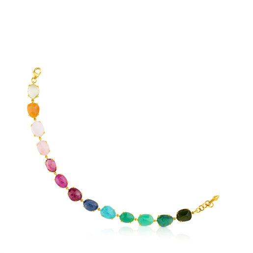 Gold Beethoven Bracelet with thirteen multicolor Gemstones