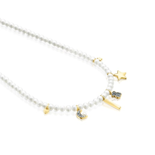 Nocturne Pearl Necklace with Silver Vermeil and Diamonds