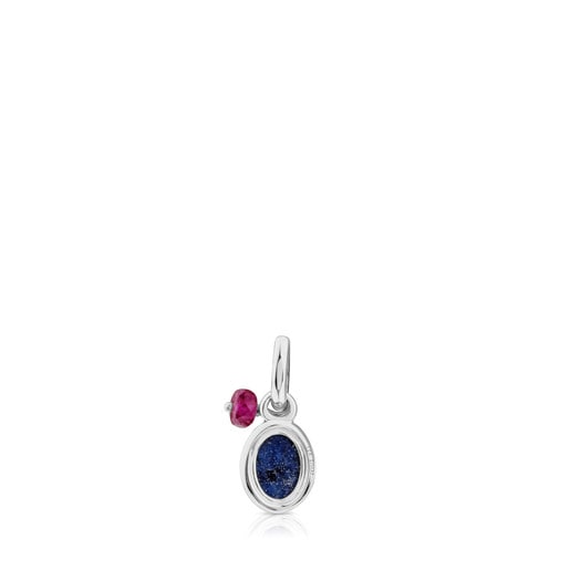 Silver Tiny Pendant with Dumortierite and Ruby