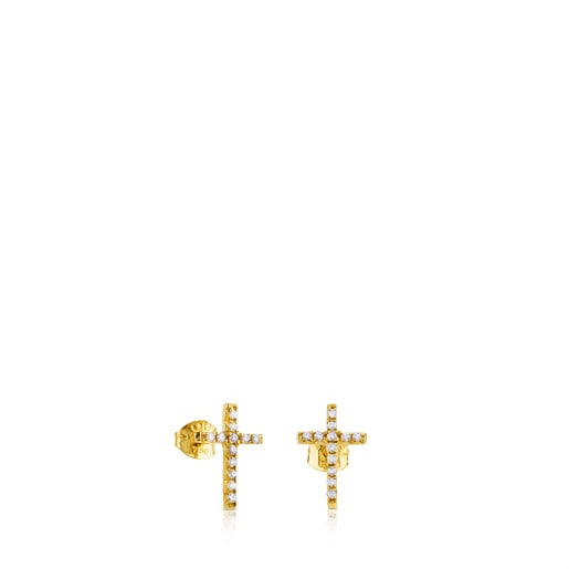 Gold TOUS Cruz Earrings with Diamond