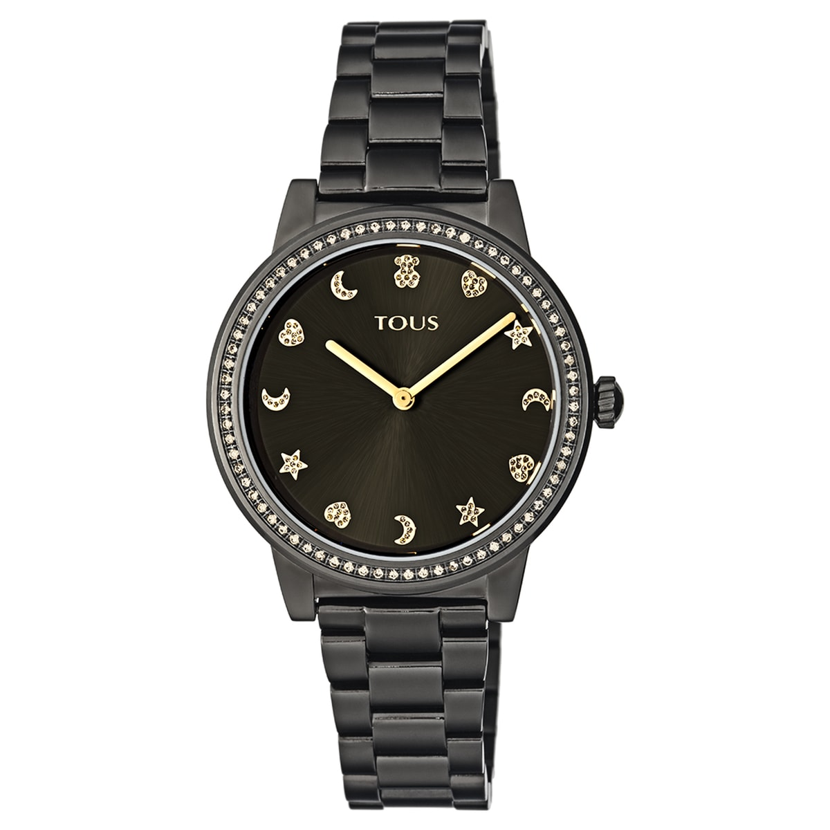 Black IP Steel Nocturne Watch with bezel with cubic zirconia stones