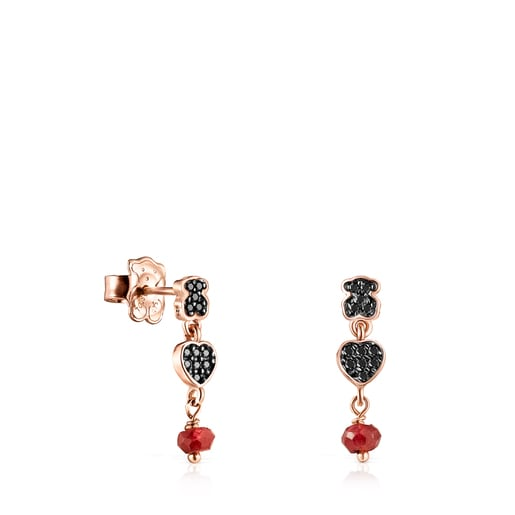 Short Motif Earrings in Rose Silver Vermeil with Spinels and Ruby
